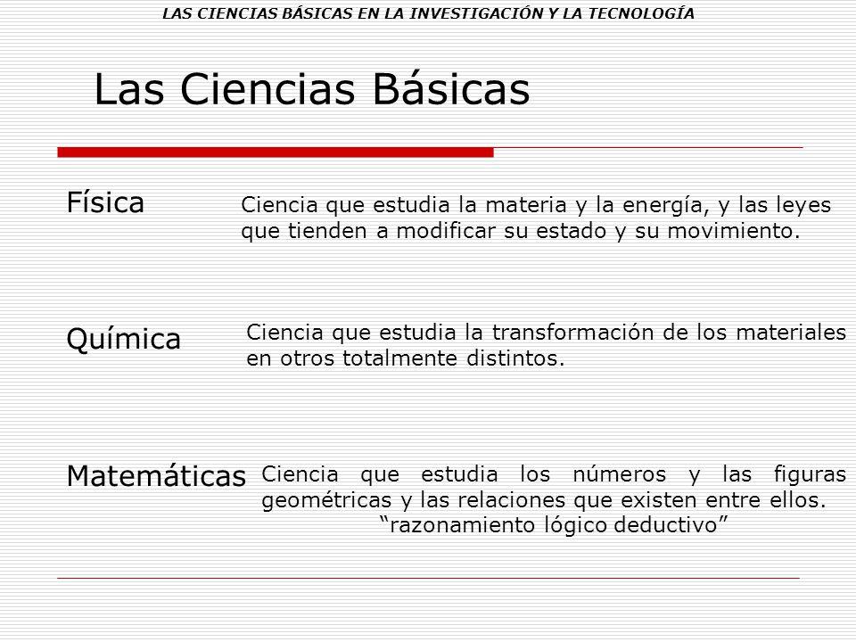LAS CIENCIAS BÁSICAS EN LA INVESTIGACIÓN Y LA TECNOLOGÍA Las Ciencias Básicas Física Química Matemáticas Ciencia que estudia la materia y la energía,