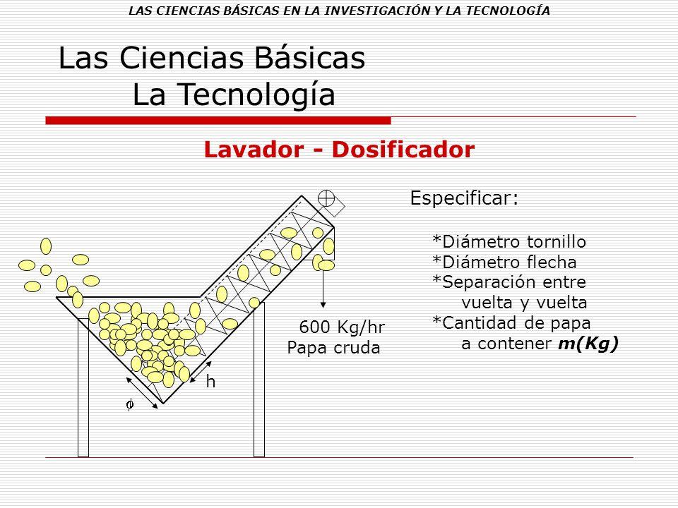 LAS CIENCIAS BÁSICAS EN LA INVESTIGACIÓN Y LA TECNOLOGÍA Las Ciencias Básicas La Tecnología Lavador - Dosificador Especificar: *Diámetro tornillo *Diá
