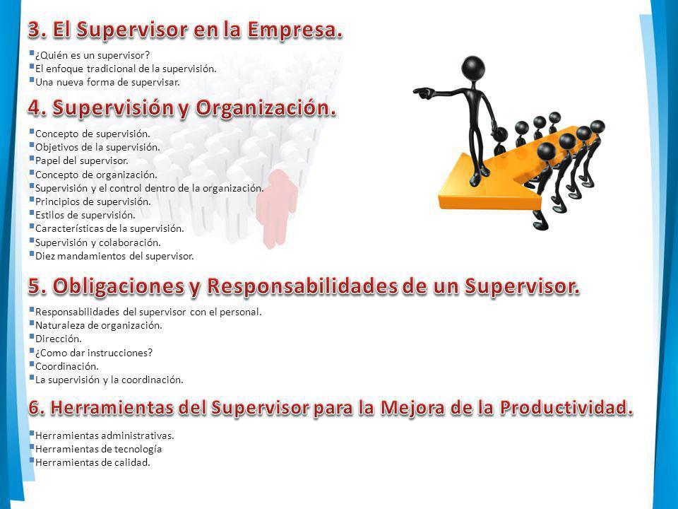 ¿Quién es un supervisor? El enfoque tradicional de la supervisión. Una nueva forma de supervisar. Concepto de supervisión. Objetivos de la supervisión