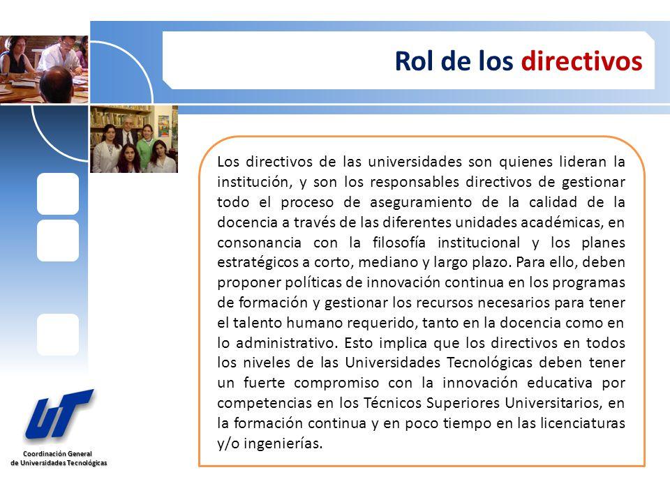 Coordinación General de Universidades Tecnológicas de Universidades Tecnológicas Rol de los directivos Los directivos de las universidades son quienes