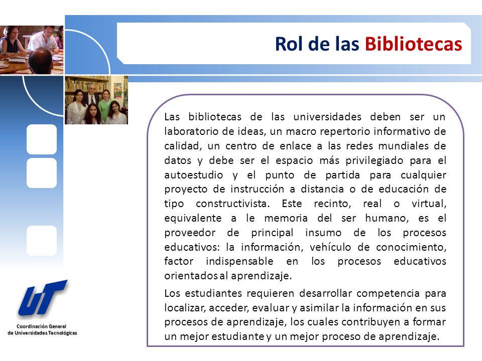 Coordinación General de Universidades Tecnológicas de Universidades Tecnológicas Rol de las Bibliotecas Las bibliotecas de las universidades deben ser