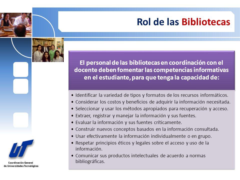 Coordinación General de Universidades Tecnológicas de Universidades Tecnológicas Rol de las Bibliotecas El personal de las bibliotecas en coordinación