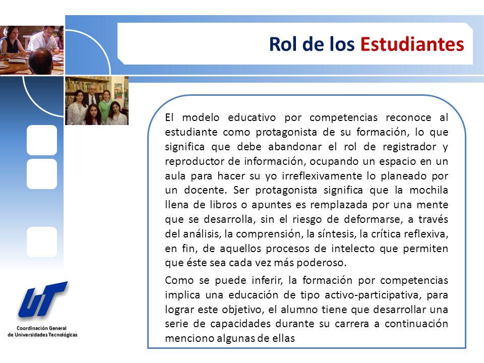 Coordinación General de Universidades Tecnológicas de Universidades Tecnológicas Rol de los Estudiantes Los alumnos deben desarrollar las siguientes habilidades y capacidades Habilidades en el uso de las tecnologías de la información y de la comunicación.