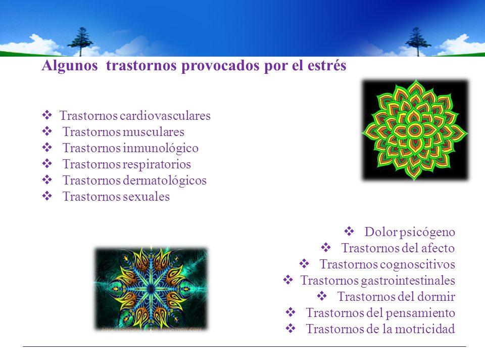Algunos trastornos provocados por el estrés Trastornos cardiovasculares Trastornos musculares Trastornos inmunológico Trastornos respiratorios Trastor