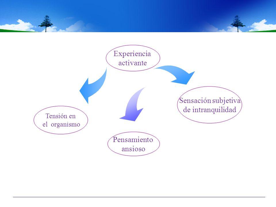 Pensamiento ansioso Tensión en el organismo Sensación subjetiva de intranquilidad Experiencia activante