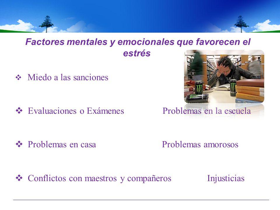Factores mentales y emocionales que favorecen el estrés Miedo a las sanciones Evaluaciones o Exámenes Problemas en la escuela Problemas en casa Proble