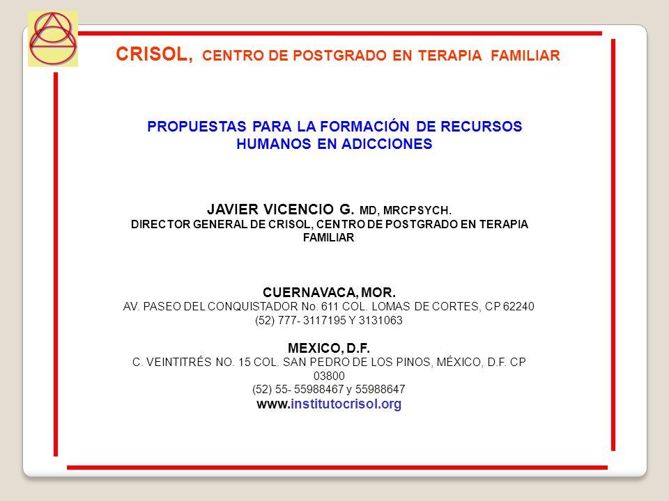 JAVIER VICENCIO G. MD, MRCPSYCH. DIRECTOR GENERAL DE CRISOL, CENTRO DE POSTGRADO EN TERAPIA FAMILIAR CUERNAVACA, MOR. AV. PASEO DEL CONQUISTADOR No. 6
