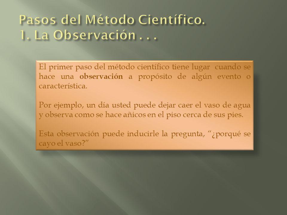 El primer paso del método científico tiene lugar cuando se hace una observación a propósito de algún evento o característica. Por ejemplo, un día uste