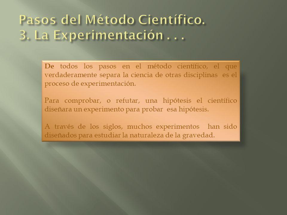 De todos los pasos en el método científico, el que verdaderamente separa la ciencia de otras disciplinas es el proceso de experimentación. Para compro