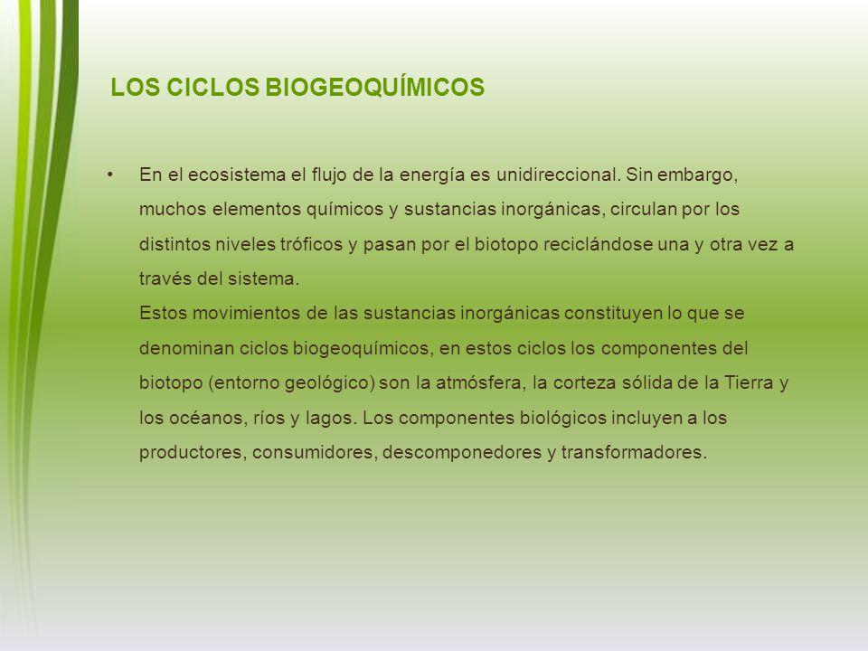 LOS CICLOS BIOGEOQUÍMICOS En el ecosistema el flujo de la energía es unidireccional. Sin embargo, muchos elementos químicos y sustancias inorgánicas,
