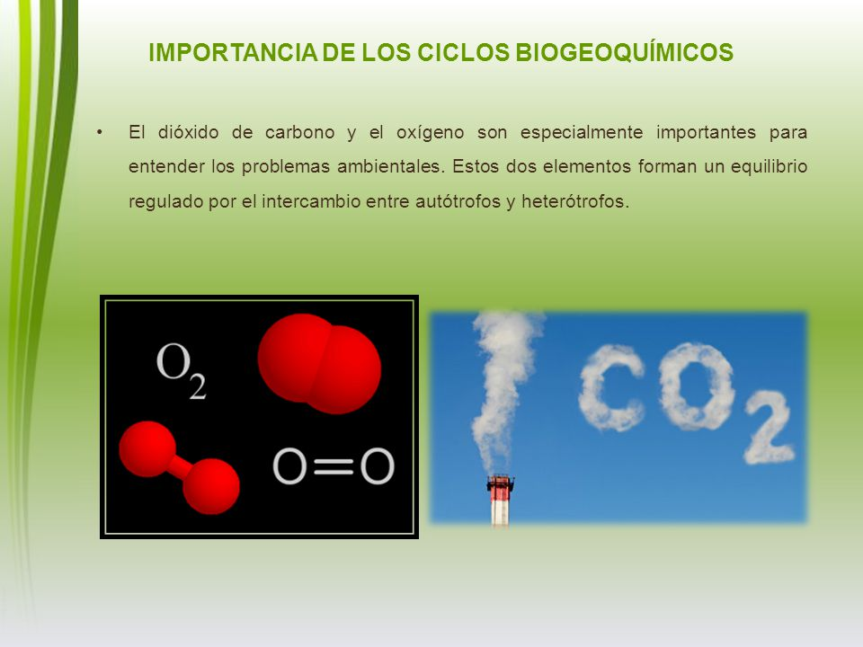 El dióxido de carbono y el oxígeno son especialmente importantes para entender los problemas ambientales. Estos dos elementos forman un equilibrio reg