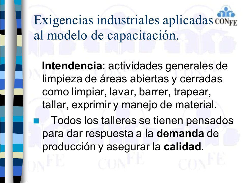 Exigencias industriales aplicadas al modelo de capacitación. Intendencia: actividades generales de limpieza de áreas abiertas y cerradas como limpiar,