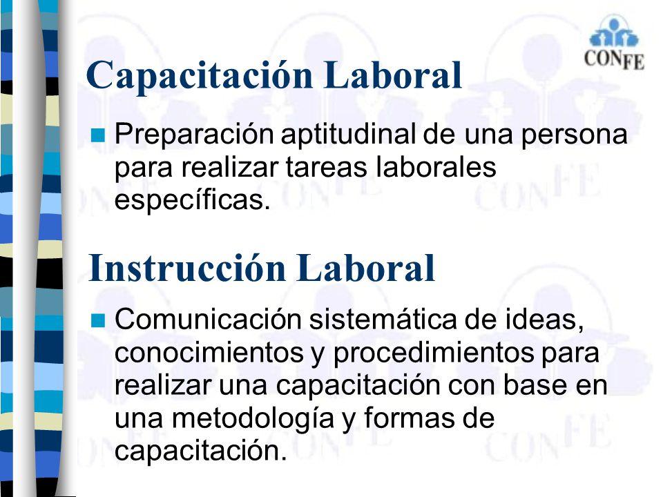 Capacitación Laboral Preparación aptitudinal de una persona para realizar tareas laborales específicas. Instrucción Laboral Comunicación sistemática d