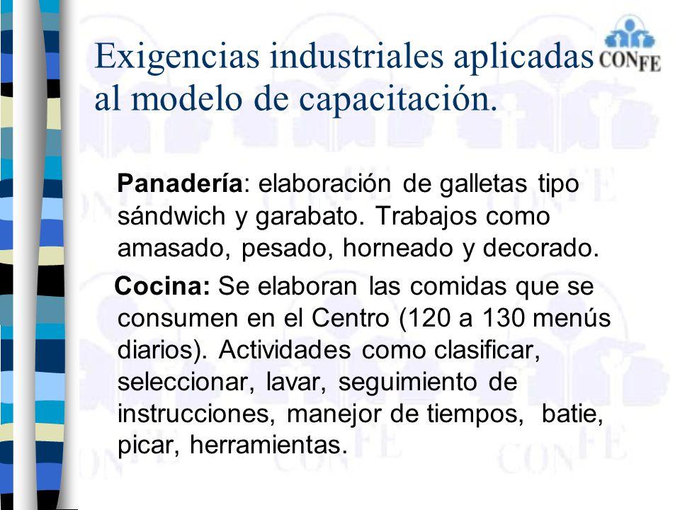 Exigencias industriales aplicadas al modelo de capacitación. Panadería: elaboración de galletas tipo sándwich y garabato. Trabajos como amasado, pesad