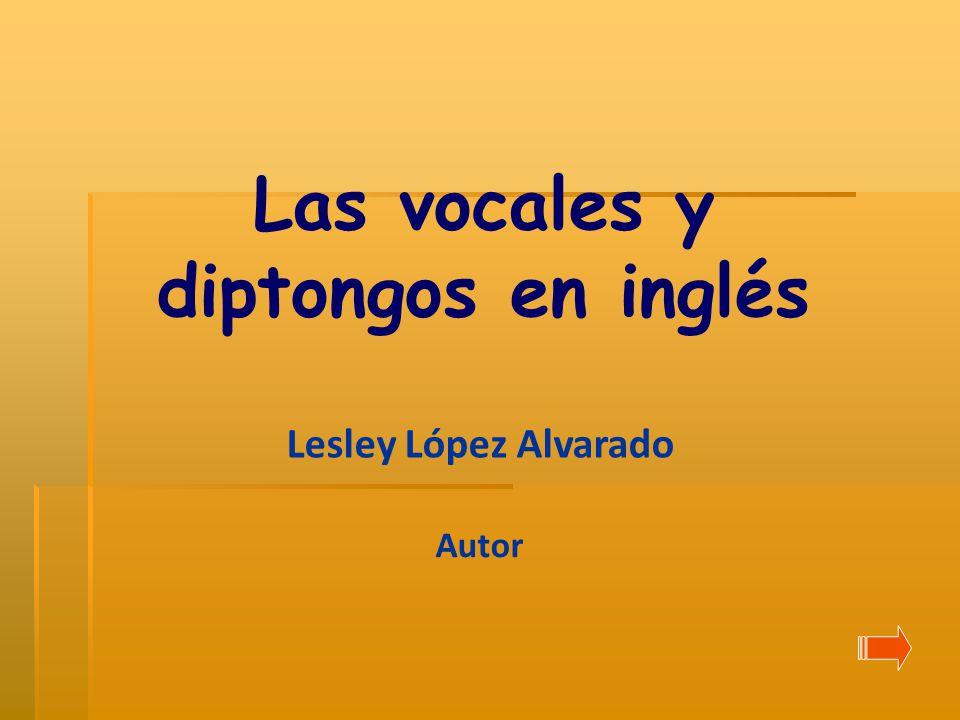 Las vocales y diptongos en inglés Lesley López Alvarado Autor