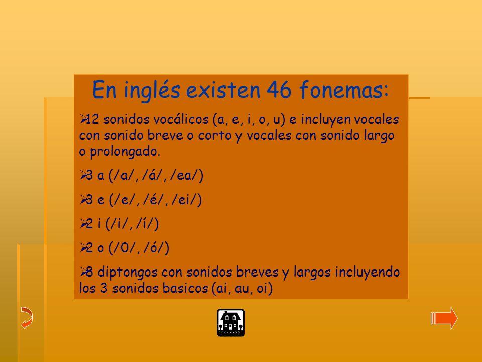 En inglés existen 46 fonemas: 12 sonidos vocálicos (a, e, i, o, u) e incluyen vocales con sonido breve o corto y vocales con sonido largo o prolongado.