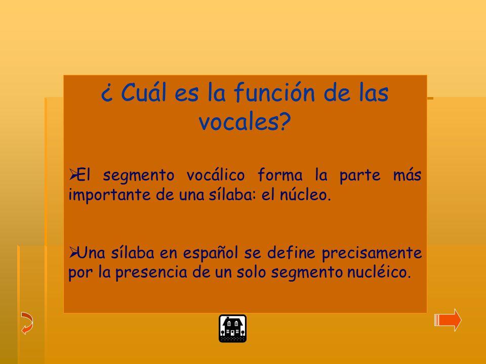 ¿ Cuál es la función de las vocales.