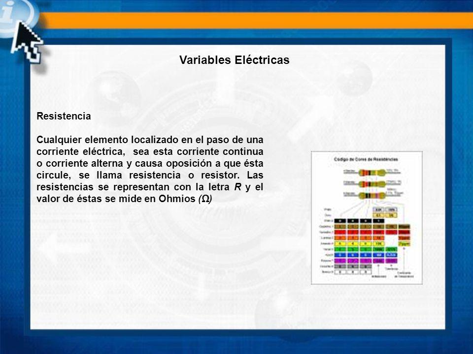 Resistencia Cualquier elemento localizado en el paso de una corriente eléctrica, sea esta corriente continua o corriente alterna y causa oposición a q