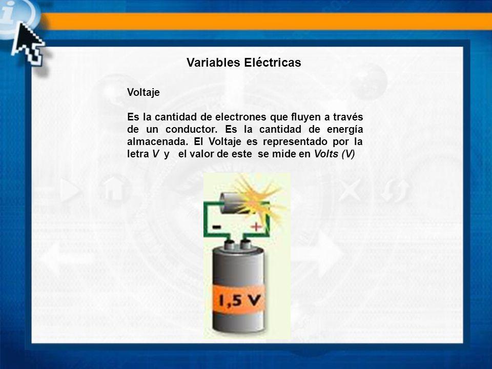 Voltaje Es la cantidad de electrones que fluyen a través de un conductor. Es la cantidad de energía almacenada. El Voltaje es representado por la letr