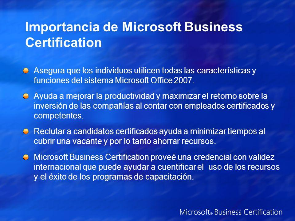 Importancia de Microsoft Business Certification Asegura que los individuos utilicen todas las características y funciones del sistema Microsoft Office 2007.