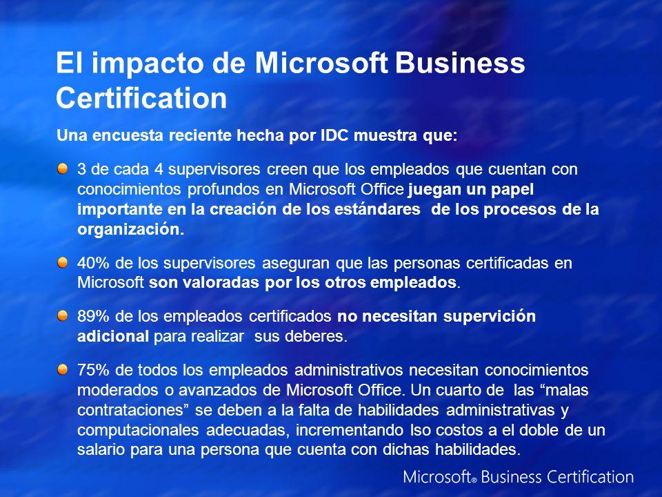 El impacto de Microsoft Business Certification Una encuesta reciente hecha por IDC muestra que: 3 de cada 4 supervisores creen que los empleados que cuentan con conocimientos profundos en Microsoft Office juegan un papel importante en la creación de los estándares de los procesos de la organización.
