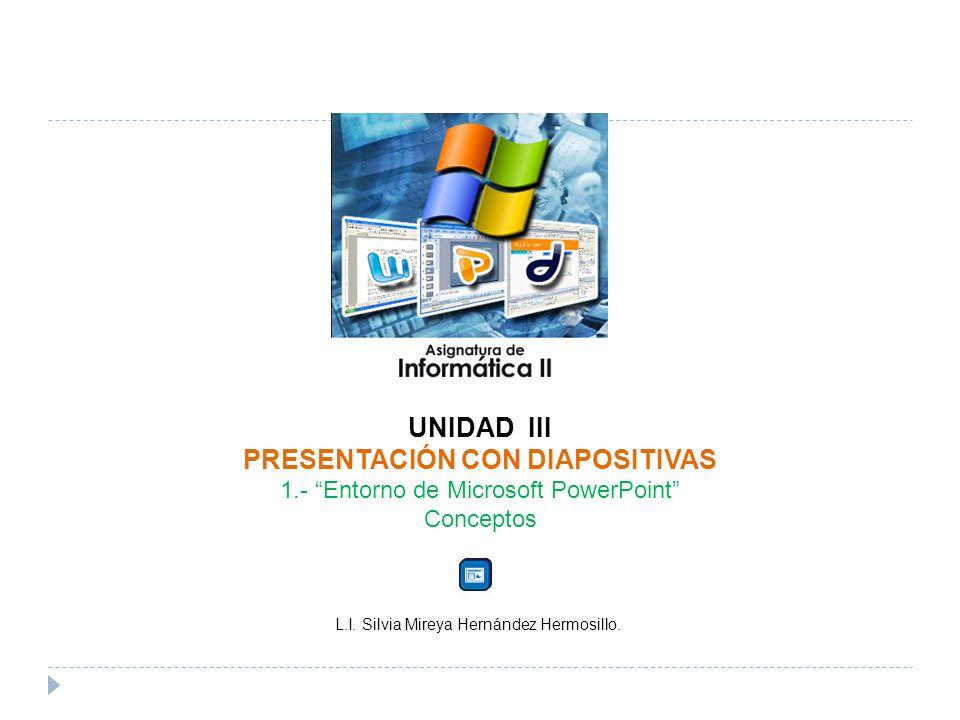 UNIDAD III PRESENTACIÓN CON DIAPOSITIVAS 1.- Entorno de Microsoft PowerPoint Conceptos L.I.