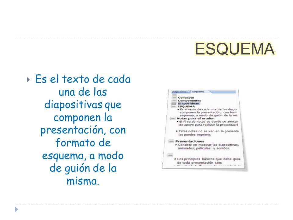 El Área de notas es donde se anexan las notas de apoyo para realizar la presentación.