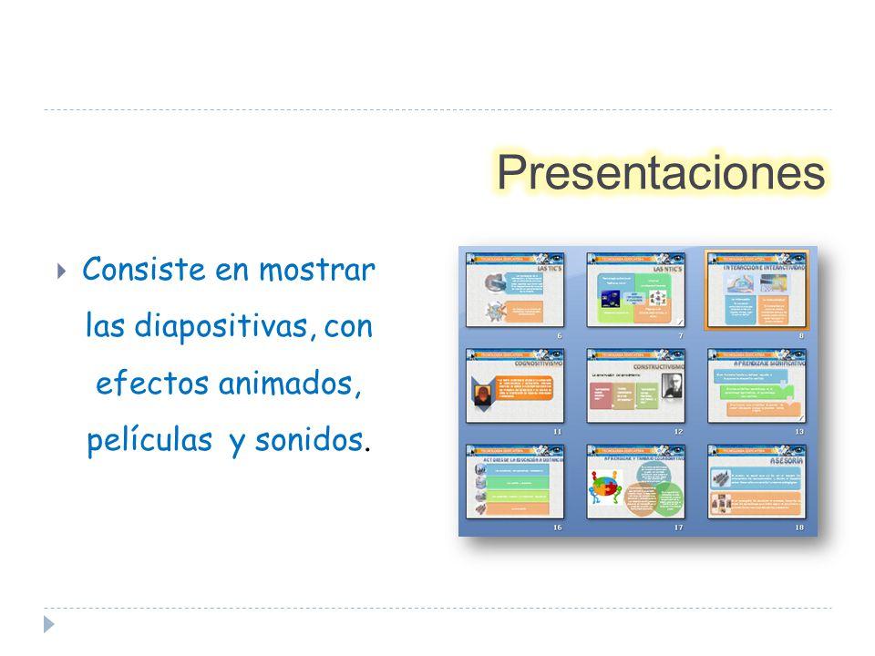 Consiste en mostrar las diapositivas, con efectos animados, películas y sonidos.