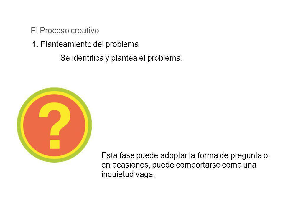1. Planteamiento del problema El Proceso creativo Se identifica y plantea el problema. Esta fase puede adoptar la forma de pregunta o, en ocasiones, p
