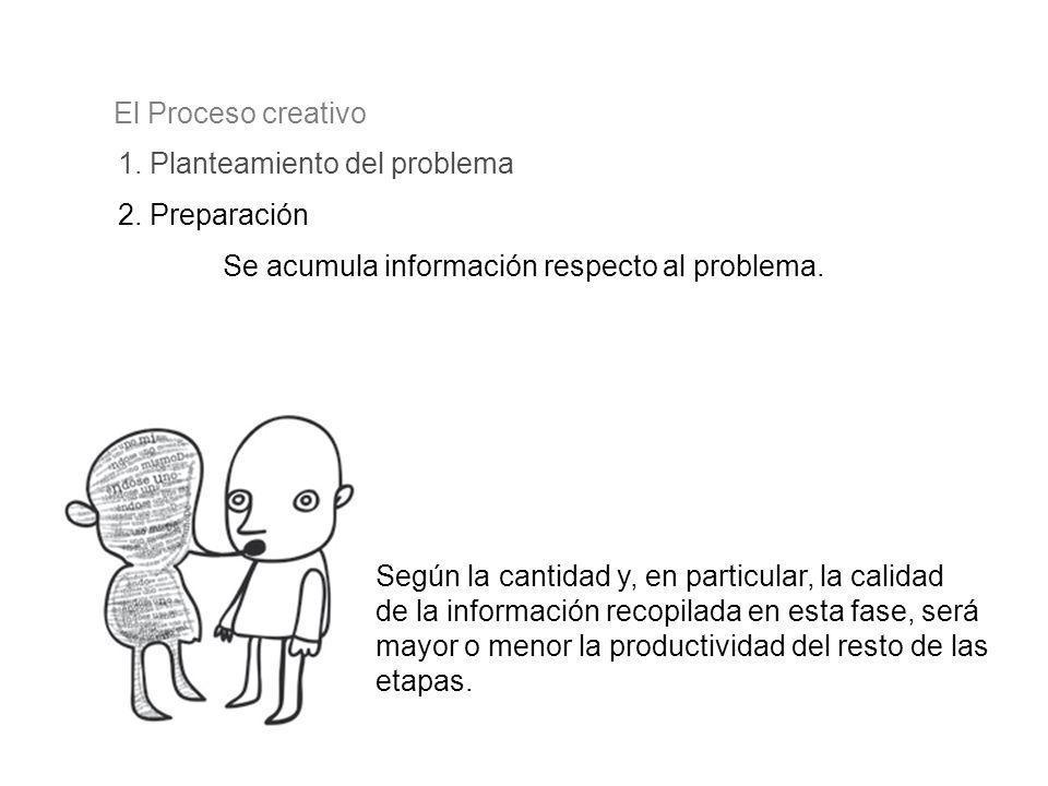 1. Planteamiento del problema El Proceso creativo 2. Preparación Se acumula información respecto al problema. Según la cantidad y, en particular, la c