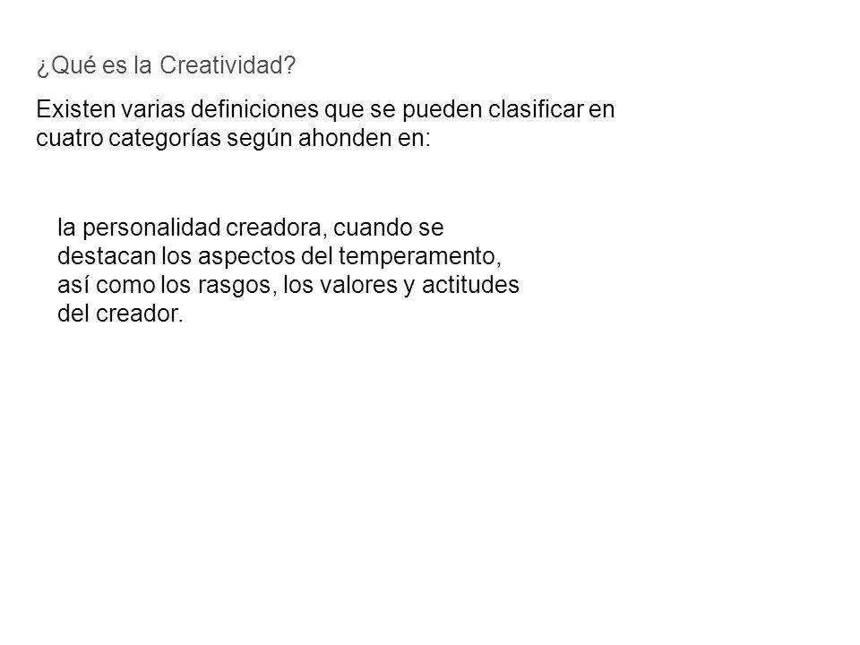 Existen varias definiciones que se pueden clasificar en cuatro categorías según ahonden en: ¿Qué es la Creatividad? la personalidad creadora, cuando s