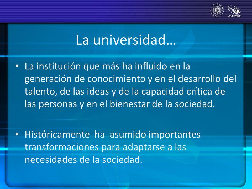 La universidad… La institución que más ha influido en la generación de conocimiento y en el desarrollo del talento, de las ideas y de la capacidad crí