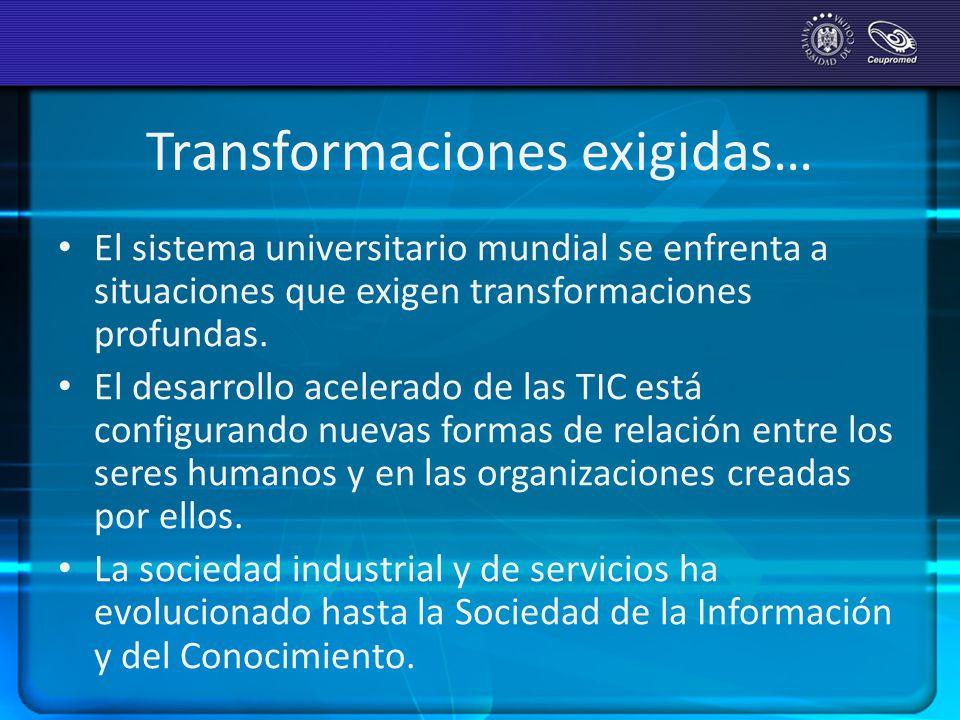 Transformaciones exigidas… El sistema universitario mundial se enfrenta a situaciones que exigen transformaciones profundas. El desarrollo acelerado d