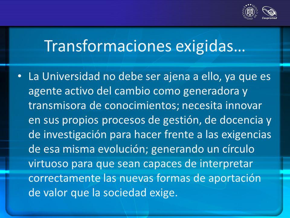 Transformaciones exigidas… La Universidad no debe ser ajena a ello, ya que es agente activo del cambio como generadora y transmisora de conocimientos;