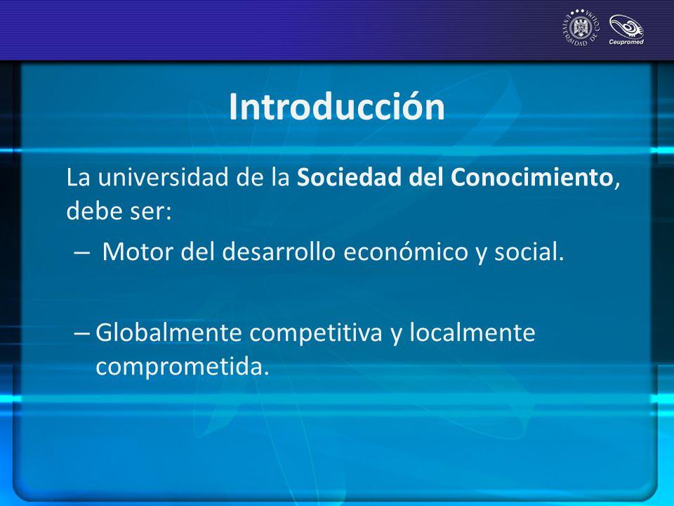 Introducción La universidad de la Sociedad del Conocimiento, debe ser: – Motor del desarrollo económico y social. – Globalmente competitiva y localmen