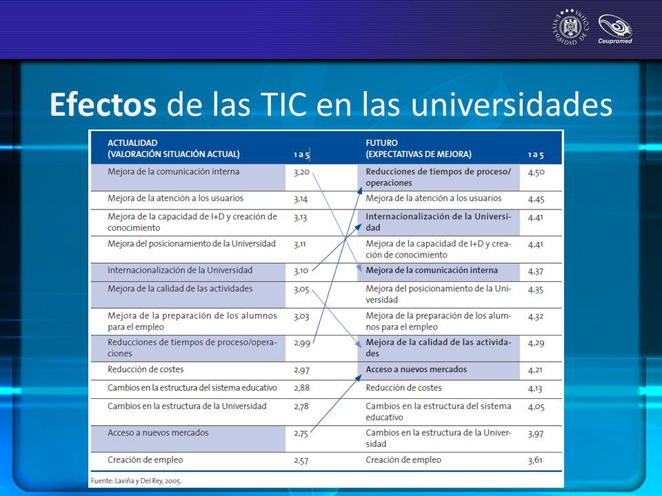 Efectos de las TIC en las universidades