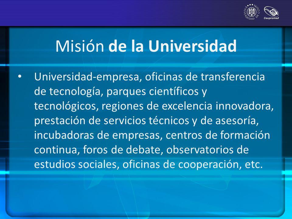 Misión de la Universidad Universidad-empresa, oficinas de transferencia de tecnología, parques científicos y tecnológicos, regiones de excelencia inno