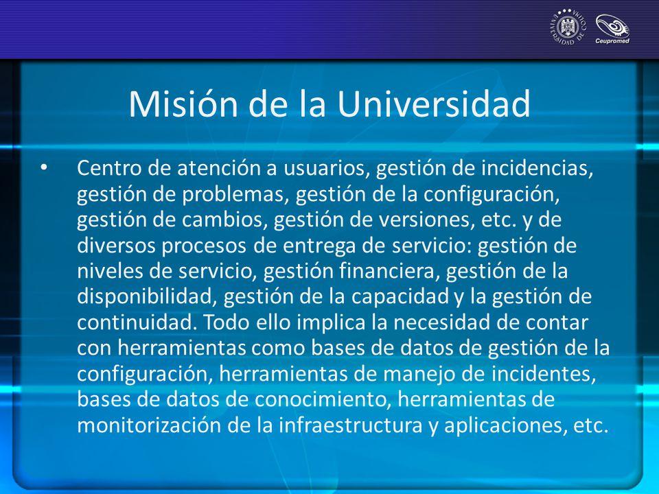Misión de la Universidad Centro de atención a usuarios, gestión de incidencias, gestión de problemas, gestión de la configuración, gestión de cambios,