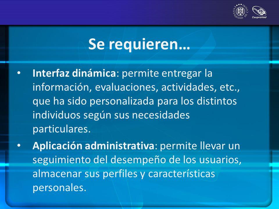 Se requieren… Interfaz dinámica: permite entregar la información, evaluaciones, actividades, etc., que ha sido personalizada para los distintos indivi
