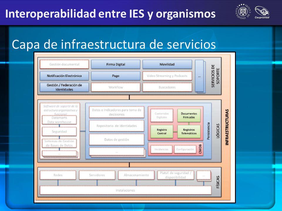 Capa de infraestructura de servicios Interoperabilidad entre IES y organismos