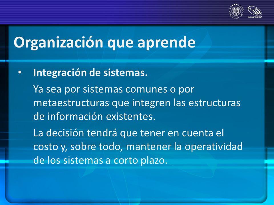 Integración de sistemas. Ya sea por sistemas comunes o por metaestructuras que integren las estructuras de información existentes. La decisión tendrá