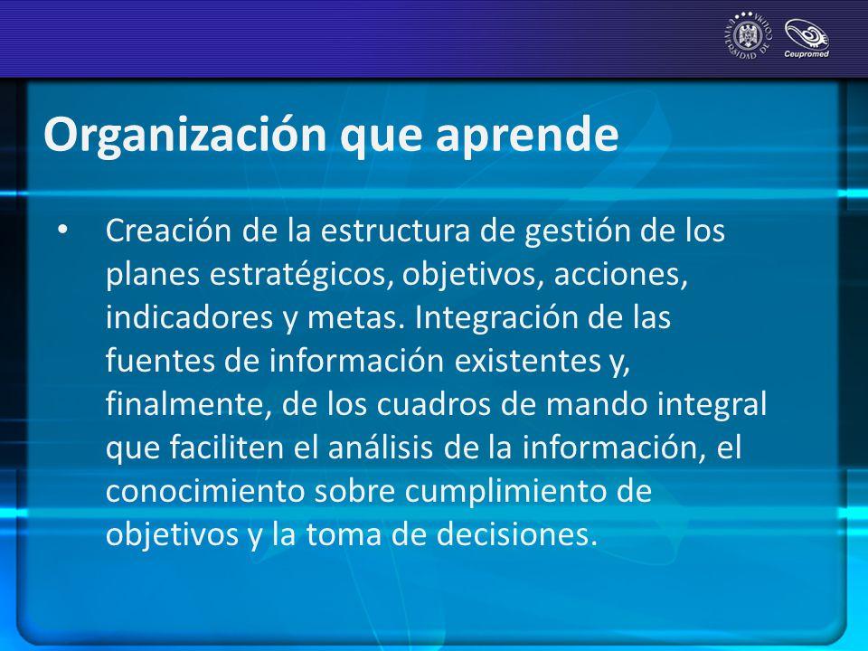 Organización que aprende Creación de la estructura de gestión de los planes estratégicos, objetivos, acciones, indicadores y metas. Integración de las