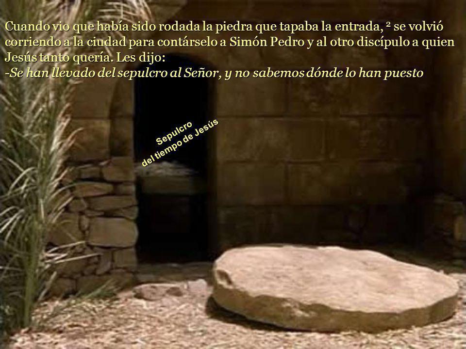 1 El domingo por la mañana, muy temprano, antes de salir el sol, María Magdalena se presentó en el sepulcro. El amor madruga más que el sol, hace ver