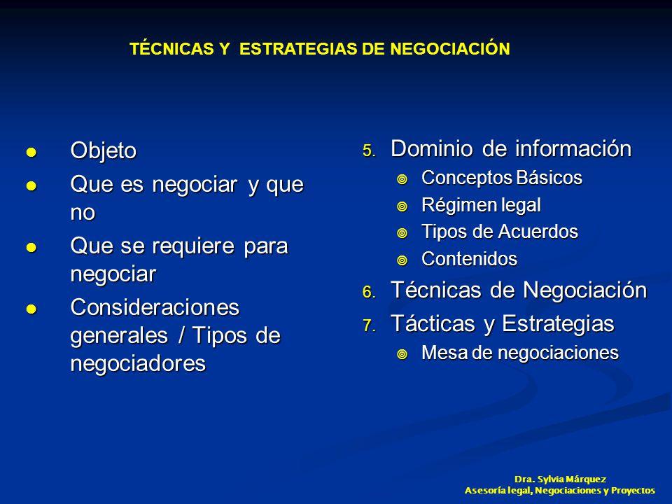 Objeto Objeto Que es negociar y que no Que es negociar y que no Que se requiere para negociar Que se requiere para negociar Consideraciones generales / Tipos de negociadores Consideraciones generales / Tipos de negociadores 5.