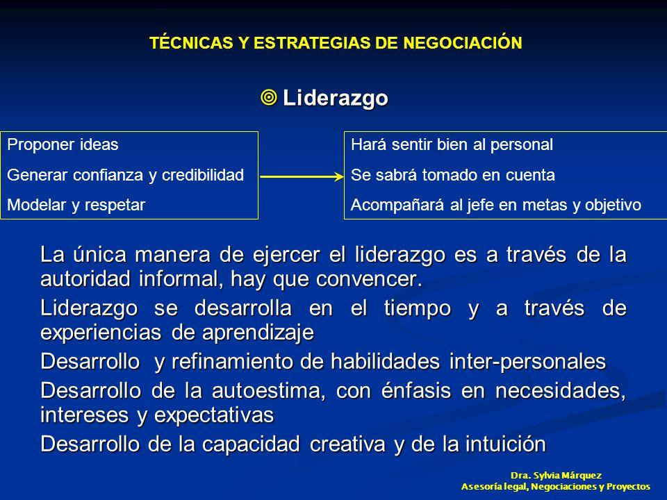 Liderazgo Liderazgo La única manera de ejercer el liderazgo es a través de la autoridad informal, hay que convencer.