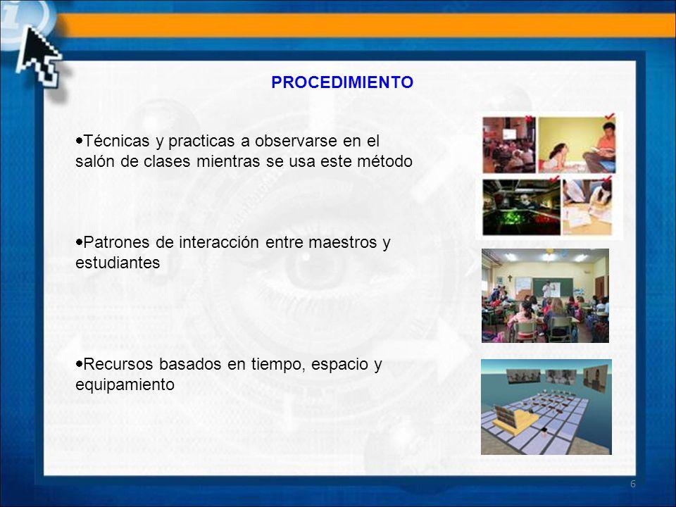 PROCEDIMIENTO Técnicas y practicas a observarse en el salón de clases mientras se usa este método Patrones de interacción entre maestros y estudiantes