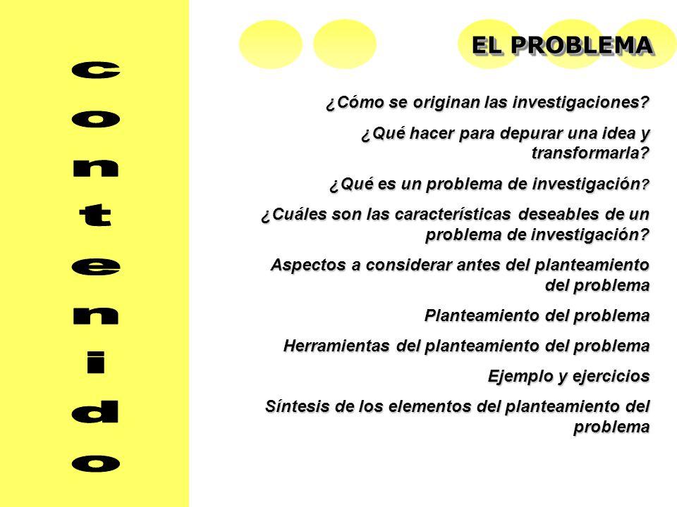 EL PROBLEMA ¿Cómo se originan las investigaciones.