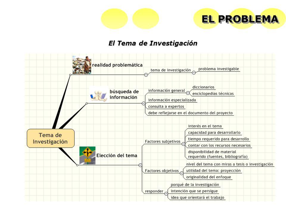 El Tema de Investigación EL PROBLEMA