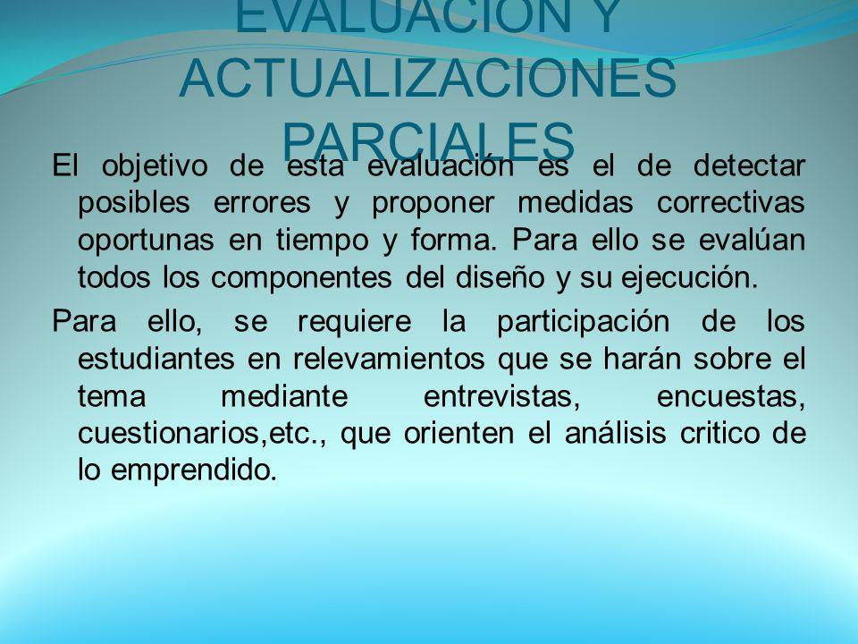 EVALUACION Y ACTUALIZACIONES PARCIALES El objetivo de esta evaluación es el de detectar posibles errores y proponer medidas correctivas oportunas en t