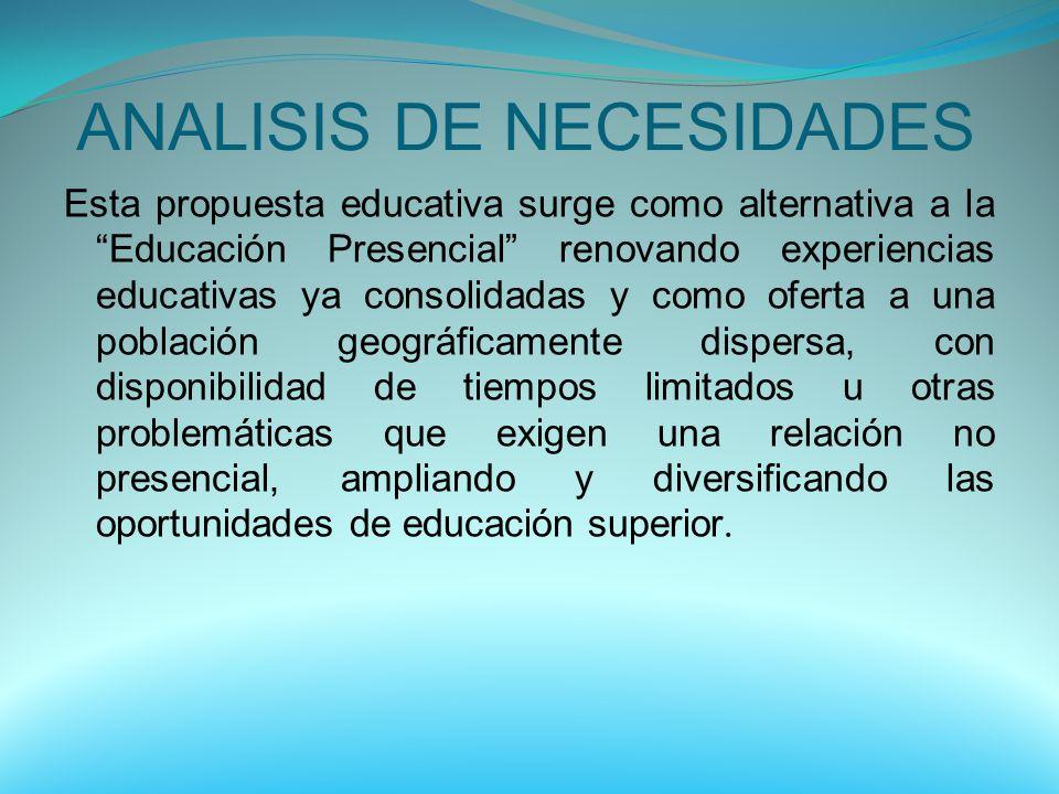 ANALISIS DE NECESIDADES Esta propuesta educativa surge como alternativa a la Educación Presencial renovando experiencias educativas ya consolidadas y
